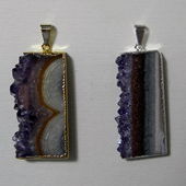 Uruguay Minerals. Marcos Lorenzelli S.R.L. Amethyst Slices Pendants